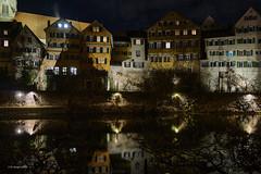 Neckargasse Tübingen (markbangert) Tags: neckar neckarbrücke bridge tübingen river altstadt historisch nachts licht spiegelung reflections lights lichter nikon d850 fx