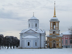church and bell-house near the palace in Kuskovo (VERUSHKA4) Tags: canon europe russia moscow city cityscape ville winter hiver snow neve church bellhouse architecture decor palace wall building window january museum kuskovo day ciel sky tree religion croix cloudy door fenetre astoundingimage