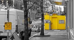 Street Scene - Selective Yellow (sea turtle) Tags: seattle southlakeunion urban street city republicanstreet westlake construction yellow selectivecolor selectiveyellow sidewalk sign signs