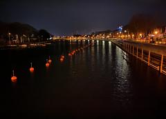 red buoys (Renate R) Tags: night redbuoys river water reflections warnemünde balticsea mecklenburgvorpommern rotebojen rot boje alterstrom nacht