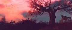 """Twilight roamer"" (Pheabus2K9) Tags: witcher3 tw3 sunset horse tree reshade"