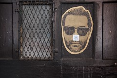 The Man with the Sunglasses (AlainC3) Tags: artderue streetart collage verresfumées sunglasses porte door brun brown nikond7500