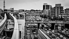 Osaka's monorail, Japan 大阪のモノレール (Mr Mikage (ミスター御影)) Tags: 2013 architectureurbanjapanese countryjapan countryjapanosaka transportcar transportmonorail transportroads transportsignage happyplanet asiafavorites