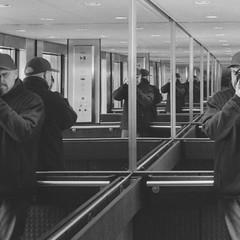 ? (Attila Pasek (Albums!)) Tags: nikonf90 selfie analogue pan400 mirror elevator kentmere reflection bw selfportrait cropped 35mm film blackandwhite