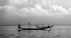 (cherco) Tags: myanmar water lake man fisherman backlighting blackandwhite monochrome horizon boat composition cloud sky tranquility two soledad happyplanet asiafavorites