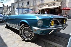 Ford Mustang Cabriolet (Monde-Auto Passion Photos) Tags: voiture vehicule auto automobile cars ford mustang cabriolet convertible roadster spider sportive bleu blue ancienne classique collection légende france fontainebleau