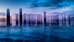 New Jersey Blues (m_laRs_k) Tags: sliderssunday hss nj ny nyc nikon brookfield wtc manhattan hudsonriver water lightroomed icm verticalshake fakereflection blues sunday nikkor z2470mmf4s f11 absichtlichverwackelt usa newyorkcity amerika jerseycity 纽约 新​泽西