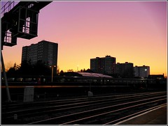 Sunset over Central Hull ... (** Janets Photos **) Tags: uk hull sunsets citycentres railtracks