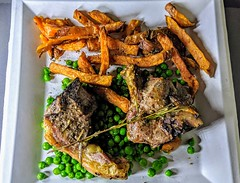 Salt Dry-Aged Lamb Chops with Sweet Potato Fries and Peas (Tony Worrall) Tags: photos photograff things uk england food foodie grub eat eaten taste tasty cook cooked iatethis foodporn foodpictures picturesoffood dish dishes menu plate plated made ingrediants nice flavour foodophile x yummy make tasted meal nutritional freshtaste foodstuff cuisine nourishment nutriments provisions ration refreshment store sustenance fare foodstuffs meals snacks bites chow cookery diet eatable fodder ilobsterit instagram forsale sell buy cost stock lamb meat chips peas sweetpotato