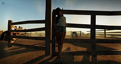 sundays at the ranch (RedPoison003) Tags: ranch country horse sun sunset ride riding secondlife virtual avatar legacy cowgirl cowboy western landscape