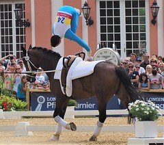 Germany: Salto (Somersault) on the Horse - European Champion on the Horse with his Acrobatic Show - During the Great Horse Show in Wiesbaden-Biebrich in June 2019 (DieterLo1) Tags: voltigieren wiesbadenbiebrich european champion europameister akrobatik artistik horse horses pferd voltigierpferd salto somersault