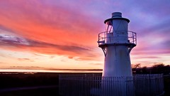 East usk lighthouse (Ade Ward Phototherapy.) Tags: exploring explore sky scenery colour clouds sunset nikon severnestuary southwales coast wales estuary newport newportwetlands eastusklighthouse lighthouse