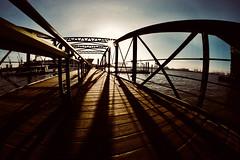 Harbour Sun (kuestenkind) Tags: hamburg hafen harbour sonne sun norddeutschland weitwinkel fisheye brücke bridge northgermany sonnenstern gegenlicht
