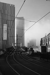 Manchester in the fog (Hugo Karpinski) Tags: fog bnw manchester monochrome city blackandwhite tramway rail