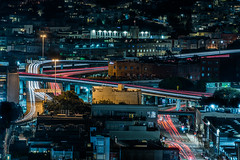 weekend late night exodus (pbo31) Tags: sanfrancisco california nikon d810 night dark color january 2020 boury pbo31 winter city urban civiccenter patrix siemer over foxplaza lightstream traffic roadway motion rooftops 101 centralfreeway ramp soma highway