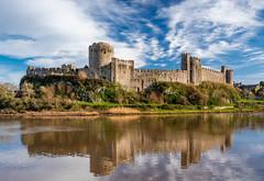 Pembroke Castle, Pembrokeshire, Wales. (hemlockwood1) Tags: pembroke castle henry medieval walls river pond wales tudor norman turret earldom architecture pembrokeshire