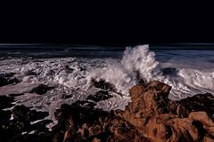 Moonstone Beach (randyandy101) Tags: moon fullmoon moonstonebeach californiacentralcoast california cambria coast cambriapinesbythesea cambriaca coastline night nightscape beach bigsur bigsurhighway sea seascape surf ocean outdoors outdoor water waves whitewater splash rock rocks rocky reflection luna