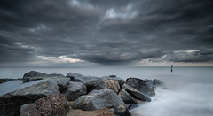 Precipitation (paullangton) Tags: norfolk southwold sky precipitation weather longexposure leefilters beach coast rocks defence canon 24105mm clouds storm