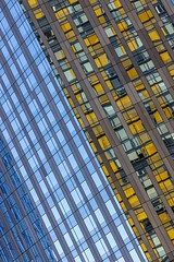 Abstract Architecture (Karen_Chappell) Tags: lasvegas travel usa city urban nevada abstract architecture reflection reflections windows blue yellow tilt angle geometry geometric lines rectangle canonef24105mmf4lisusm glass skyscraper building