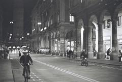 Bologna (goodfella2459) Tags: nikonf4 afnikkor50mmf14dlens ilfordsuperxp2400 35mm c41 blackandwhite film analog night city streets road buildings bologna italy light bwfp