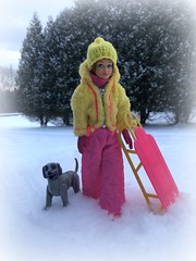 Snow day fun (Foxy Belle) Tags: skipper dolll snow outside mod pink yellow snowsuit sled sledding dog barbie vintage titian hat trees puppy gray poseable beauty hound afghan superstar 1980s