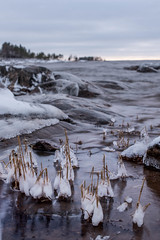 Icicles (Mika Lehtinen) Tags: january cold night winter sea ice icicles rock sky nature finland shore beach nikon d750 snow cool water sigma 50mm slowwater longexposure lowlight