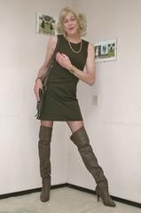 Over the knee boots. (sabine57) Tags: crossdressing transvestism crossdress crossdresser cd tgirl tranny transgender transvestite tv travestie drag highheels boots overkneeboots otkboots stockings nylons dress browndress shortdress handbag choker