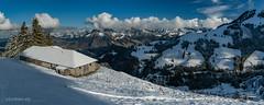Panorama depuis le chalet de La Chaux-Dessus (switzerland) (christian.rey) Tags: lachauxdessus cahlet alpage gruyère fribourg préalpes molésonvillage assemblage panorama hiver swiss mountains sony alopha a7r2 a7rii 24105 lightroompanorama