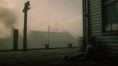 Sleeping in Gloomy Morning : RDR2 (Chiradeep.) Tags: rdr2 reddeadredemption2 sleeping morning fog foggymorning town wildwest 1898 america usa boot leatherboot hat woodenplank woodenpier jetty dock lamp lamppost ps4 playstation game mist mistymorning