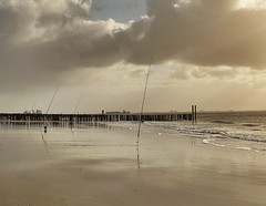 Fishing at Dishoek (jean-paulevertse) Tags: sonyalpha sonya7rll sony zon nederland strand beach zeeland dishoek fishing vissen fishingrods hengels