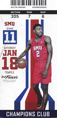 January 18, 2020, SMU Mustangs vs Temple, Mens Basketball, Moody Coliseum, Dallas, Texas - Ticket Stub (Joe Merchant) Tags: january 18 2020 smu mustangs vs temple mens basketball moody coliseum dallas texas ticket stub
