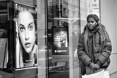Eye Catching (johnjackson808) Tags: window shopping people bw beauty ad armani vancouver monochrome granvillest woman eyes cosmetics hair advertising blackandwhite streetphotography downtown