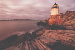 sunset in newport rhode island at castle hill lighthouse (DigiDreamGrafix.com) Tags: light house s lighthouse red colored copy space beautiful new beauty nature water autumn fall cloud sea old sunrise sunset dusk dawn scenics peace tranquil tower evening twilight copyspace edge coastline marine ocean tranquility safety landmark navigation hill waves port beacon rocks cliff island fishing atlantic castle england ri rhode newport lighthouses faro