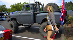 Big Wheels (Scott 97006) Tags: truck jackedup vehicle tires woman femakle lady blonde flag