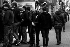 """""""Hello, Sir, how are you?"""" said the man in the Bunny costume (ElliotJHayes) Tags: street photography manchester x100f fujifilm"""
