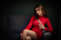 Lady in red (nerths) Tags: red woman lady her indoor apartment photoshoot friend shadows onelight lamplight smooth color nikon d750 nikkor 5018 2020 amateur