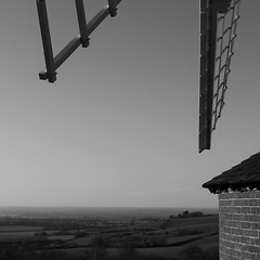 View From Brill WIndmill (cycle.nut66) Tags: windmill sails roundhouse round house horizon sky clear winter day brick hill brill roof distance landscape blackandwhite monochrome grayscale common panasonic lumix lx5 leica summicron moulinàvent