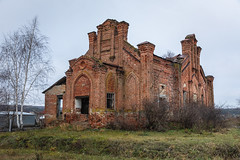 Abandoned Church. (Oleg.A) Tags: grass autumn landscape russia church cloudy ruined brick old outdoor destroyed evening orange clouds ancient countryside blue cathedral building tree shadow design orthodox exterior architecture skyscape penzaregion village nature field catedral fall landscapes vladykinsky penzaoblast