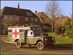 Land Rover Ambulance (Jason 87030) Tags: army military vehicle truck field road ambulance red cross sign old vintage classic motor village braunston wheels northants northamptonshire 2020 image shot convoy sessipon shoot eos lighting day january chance tag flickr camouflage forces