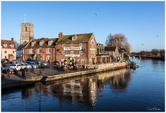 A Lovely Day by the River (clive_metcalfe) Tags: wareham dorset uk england river pub publichouse buildings carpark church theoldgranary birds people cars winter riverfrome