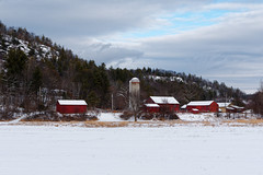 Adirondack Farm (fotofish64) Tags: landscape winterlandscape thurman rural farm warrencounty snow winter adirondackpark southernadirondacks adirondacks mountains color blue red cloud dramatic newyork agriculture pentax pentaxart kmount k70 sigma1750mmf28lens white snowcoveredroof barn