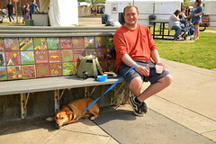 Grabbing what shade they can (radargeek) Tags: 2019 april norman normanmedievalfaire2019 medievalfair oklahoma playground dog shadows