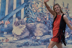 The Cat Painting (Scott 97006) Tags: painting cat picture woman female lady blonde wave smile cute pretty