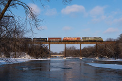 Crow River Bridge (shawn_christie1970) Tags: rockford minnesota unitedstatesofamerica emd sd70acu railroad train bridge winter cp580 cppaynesvillesub cp6644 cp8102 ge es44ac