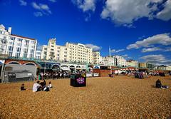 Eye on the beach in Brighton, England (` Toshio ') Tags: toshio brighton beach england unitedkingdom greatbritain people city boardwalk europe european eye art clouds fujixt2 xt2