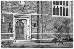 2020/019: St Luke's Cyclist (Rex Block) Tags: nikon d750 dslr 85mm f18g norfolk virginia church stlukes cyclist door bricks monochrome bw project366 366the2020edition 3662020 day19366 19jan2020 ekkidee 2020019stlukescyclist