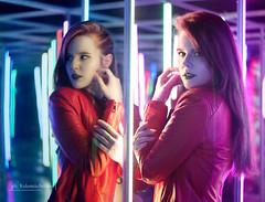 DSC01006alt (kolomiichenko.vladyslav) Tags: girl portrait cute haircut style face fashion mirrors reflection people sony sonyalpha sonya6000 studio vintagelens helios44m jacket leather makeup neon lights lines