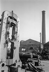 Cubitt Town, Tower Hamlets. 1982 30j-56: works, machinery, ship repair, (peter marshall) Tags: cubitttown towerhamlets 1982 works machinery shiprepair london petermarshall blackandwhite photograph bw