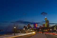 Niagara Falls, Ontario (Notkalvin) Tags: niagarafalls canada ontario night longexposure bluehour goldenhour sunset colorful winter snow nopeople lighttrails waterfall famoutsplace tourism tourist travel traveldestination mikekline notkalvin cold frozen glow hotels vacation