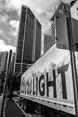 Miami mood (Jack_from_Paris) Tags: l3000094bw leica m type m10p 20021 leicaelmaritm28mmf28asph 11606 dng mode lightroom capture nx2 rangefinder télémétrique noiretblanc bw blackandwhite monochrome wide angle rue street brickell perspective clouds tour skyscraper lines lignes truck coors light